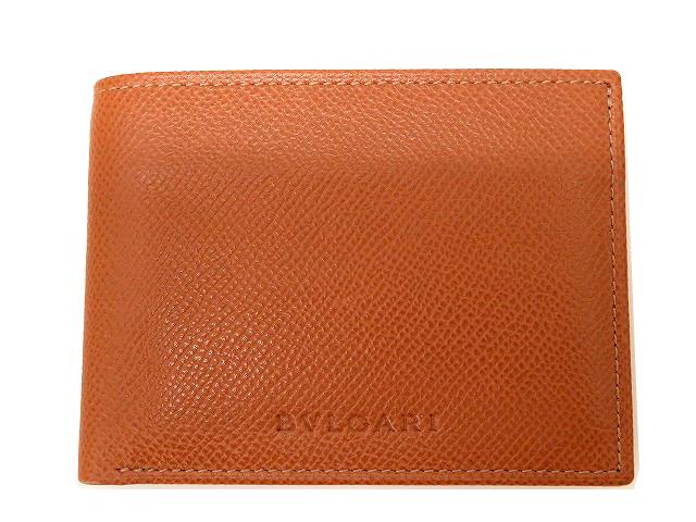 新品同様 ブルガリ レザー 二つ折り 札入れ 財布 メンズ 0064【中古】 Bulgari