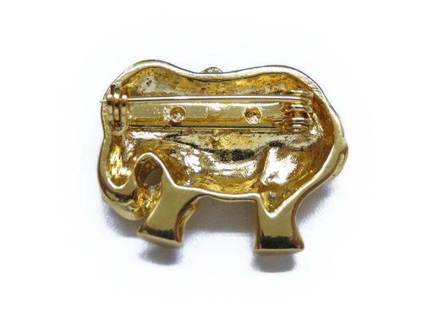 美品爱马仕象胸针黄金象动物配饰0312 Hermes
