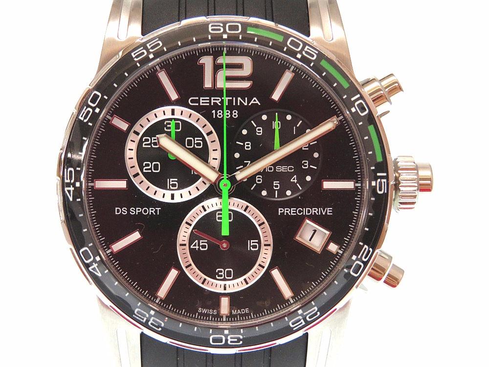 未使用 サーチナ クロノグラフ DS SPORT C027.417A メンズ クオーツ 腕時計 ステンレススチール ブラック 0347【中古】Certina