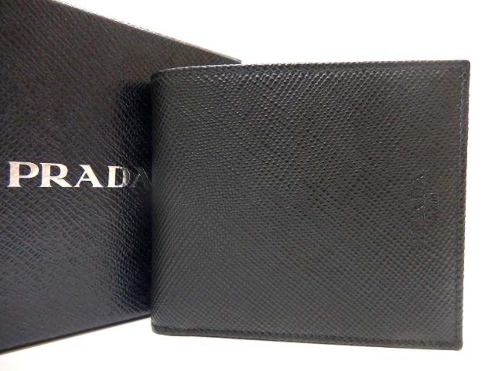 未使用 プラダ レザー 二つ折り財布 黒 ブラック 0312【中古】PRADA ユニセックス