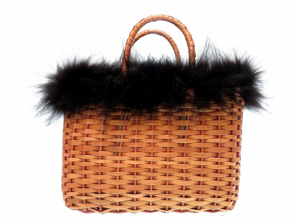 Beautiful Article Fendi Basket Straw Handbag Fur Bag Vintage 0212fendi
