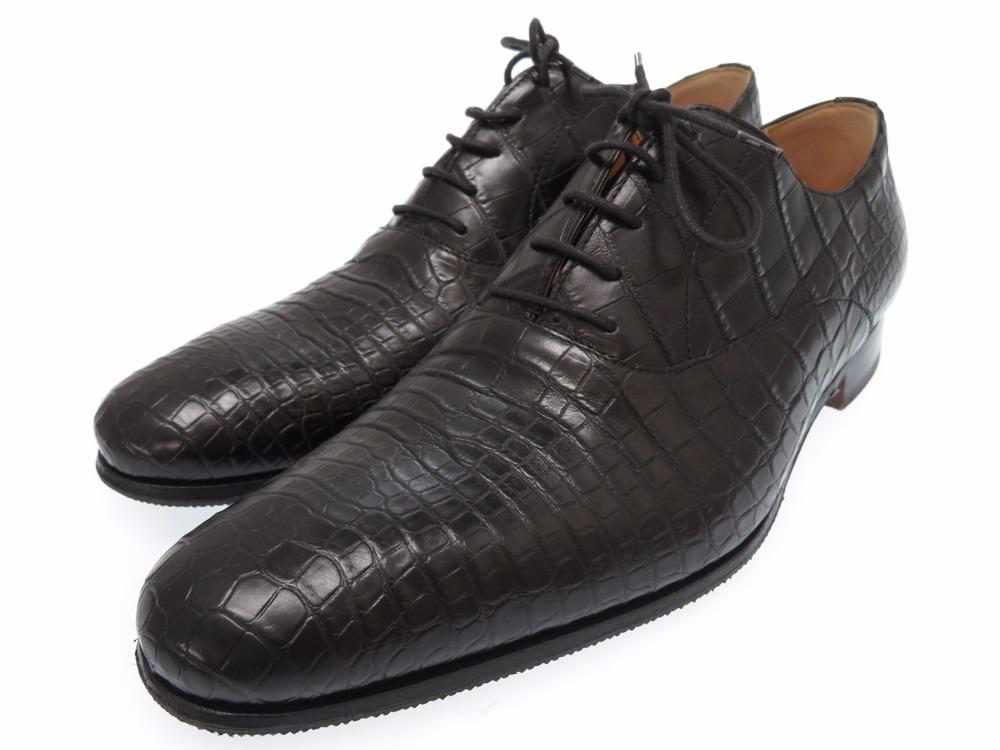 美品 エルメス クロコダイル ビジネスシューズ ブラック メンズ サイズ40 (日本サイズ25cm) 靴 0399 【中古】 HERMES