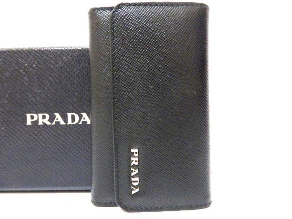 美品 プラダ サフィアーノレザー 6連キーケース 2M0025 黒 0082【中古】PRADA メンズ