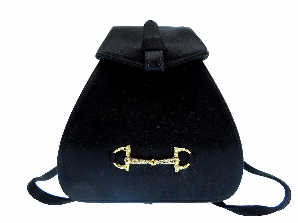 美品 オールドグッチ サテン ビット リュック バッグ ヴィンテージ 黒 鞄 0103【中古】Gucci