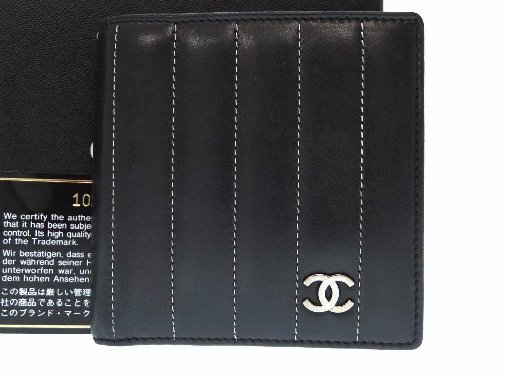 美品 シャネル マドモアゼル レザー 二つ折り財布 ブラック/シルバー 0057【中古】CHANEL