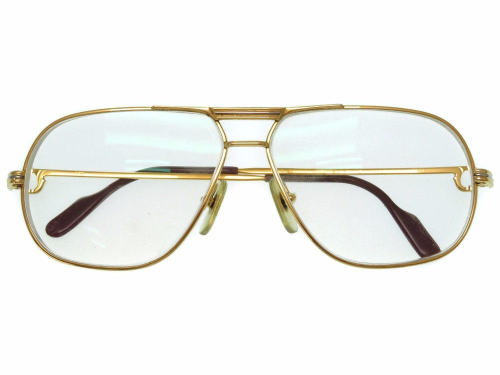 カルティエ トリニティ アイウェア メガネ ゴールドフレーム 金縁 眼鏡 度入り 0488 【中古】 CARTIER