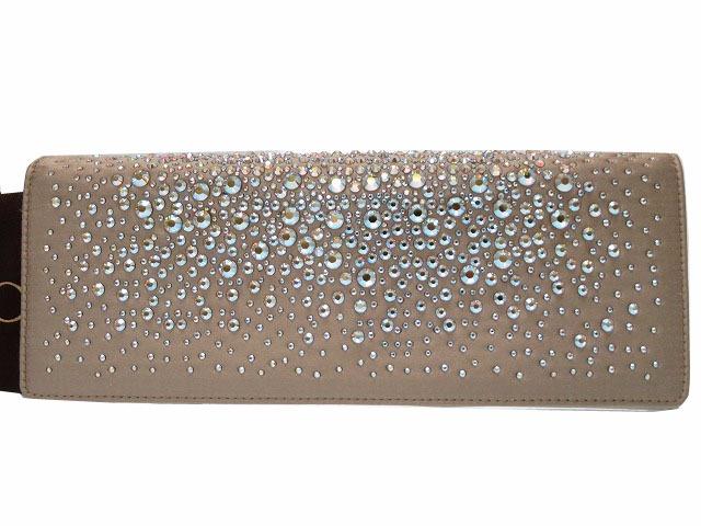 16f2cb4d43b Like-new Gucci silk satin rhinestone clutch bag 257080 gray 0141GUCCI