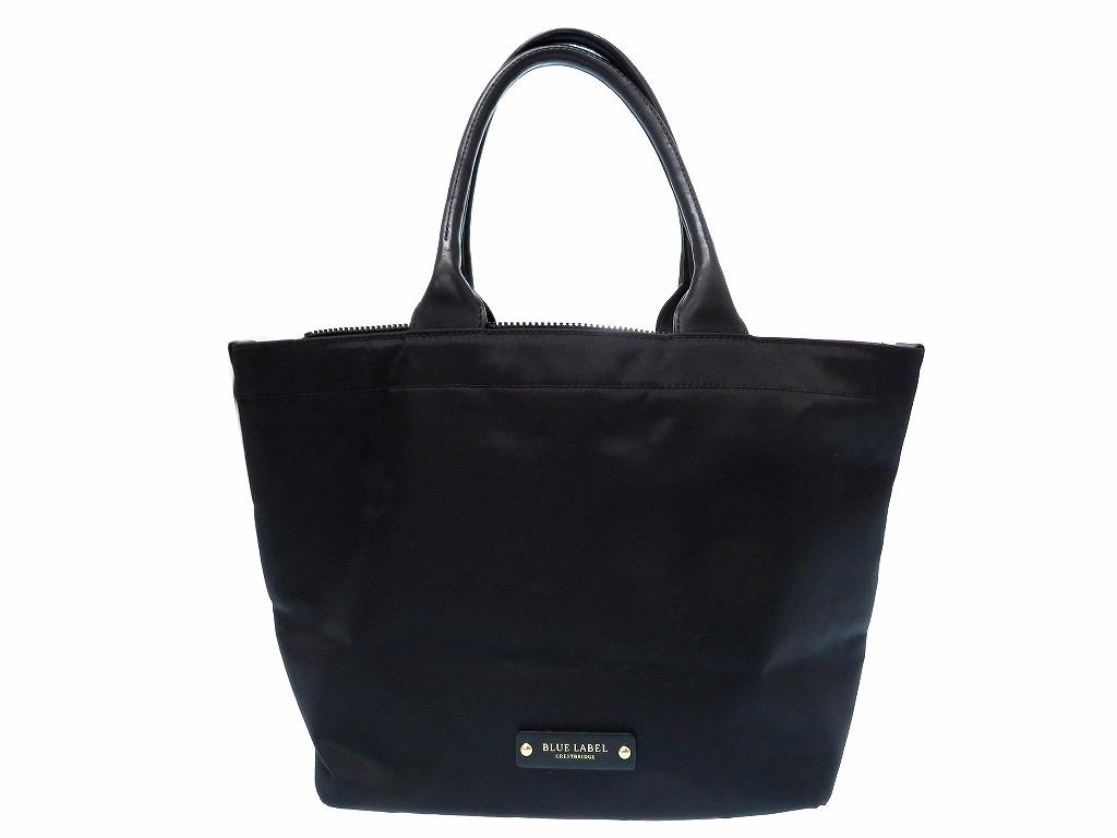 美品 ブルーレーベル ナイロン ハンド トート バッグ チェック 黒 鞄 0144【中古】 BLUE LABEL