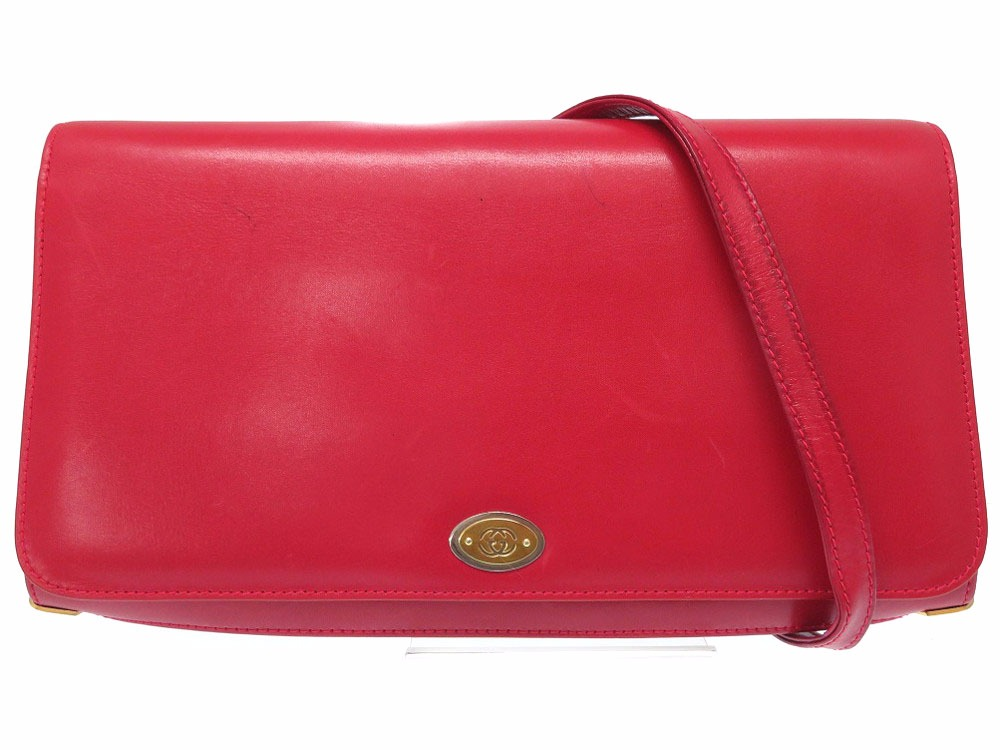 a7499ca66 0510 Gucci old Gucci GG 2WAY bag shoulder bag clutch bag leather red bag  lady GUCCI ...