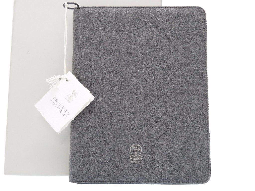未使用品 ブルネロクチネリ タブレットケース ノートカバー 手帳 グレー 0016【中古】Brunello Cucinelli
