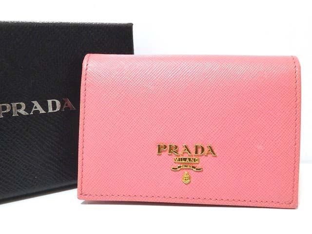 新品同様 プラダ サフィアーノレザー 1M0945 マチあり カードケース 名刺入れ ピンク 0117【中古】PRADA ユニセックス