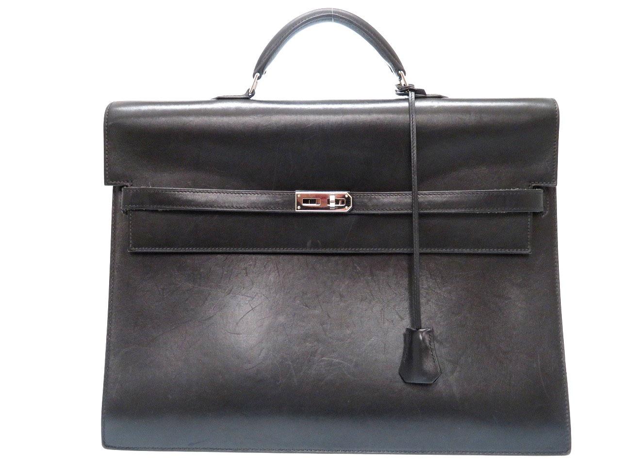 エルメス ケリーデペッシュ37 ビジネスバッグ ボックスカーフ 書類鞄 ブラック □K刻印 0075【中古】HERMES