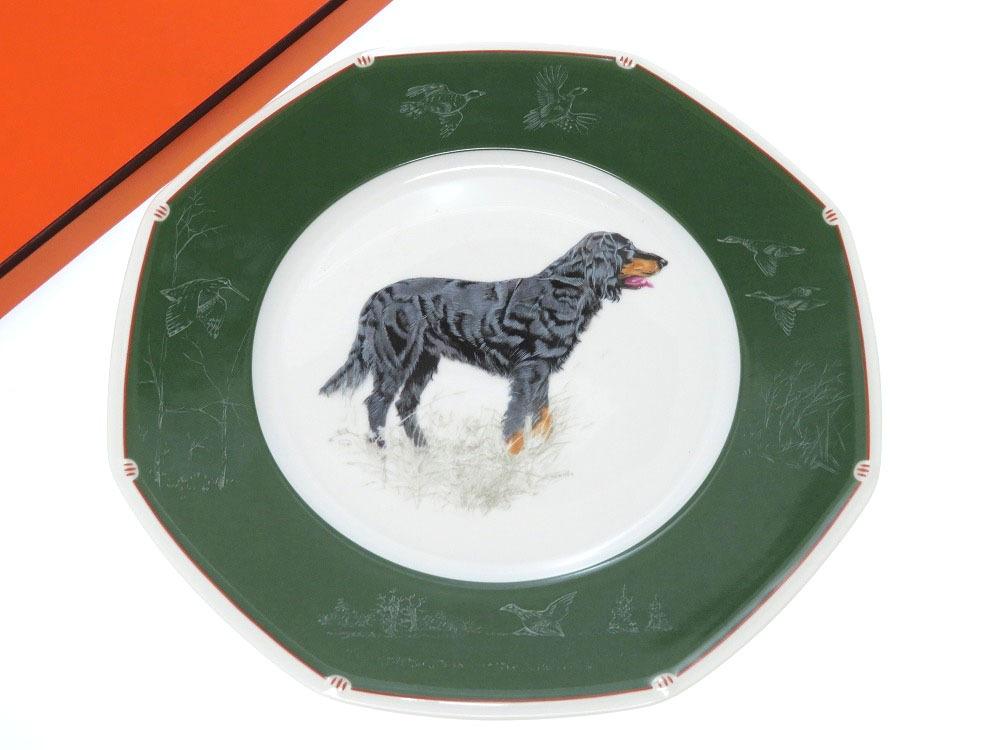 新品同様 エルメス 犬柄 プレート 皿 陶器 グリーン 小物 トレイ 0370 【中古】 HERMES