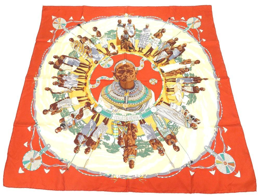 美品 エルメス カレ90 PERLES DU KENYA ケニアの真珠 シルク スカーフ 0521【中古】HERMES