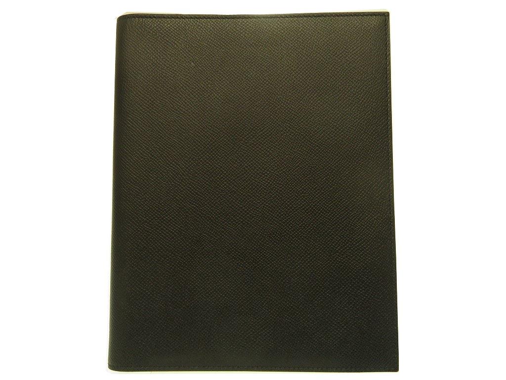美品 エルメス ヴォーエプソン ブラック メモ 手帳 アジャンダ メンズ 0219【中古】HERMES