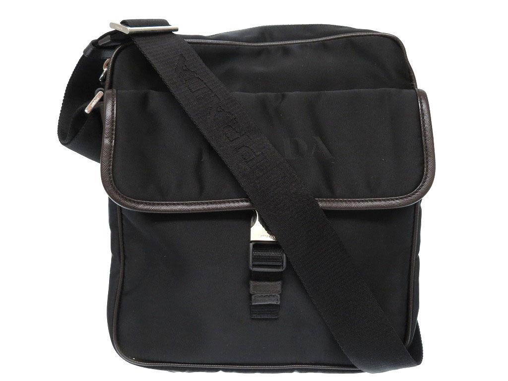 美品 プラダ ナイロン ショルダー バッグ メンズ 黒 鞄 0187【中古】PRADA