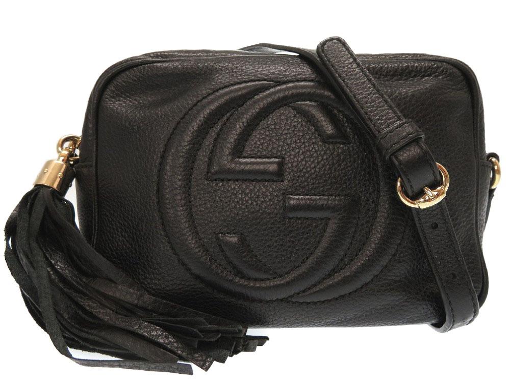 6a0b8e33822719 LIFE TIME Rakuten-ichiba: Gucci Soho disco bag black leather GG fringe  shoulder bag