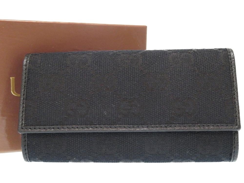 未使用品 グッチ GGキャンバス 6連キーケース ロング 138094 ブラック 黒 0255【中古】GUCCI