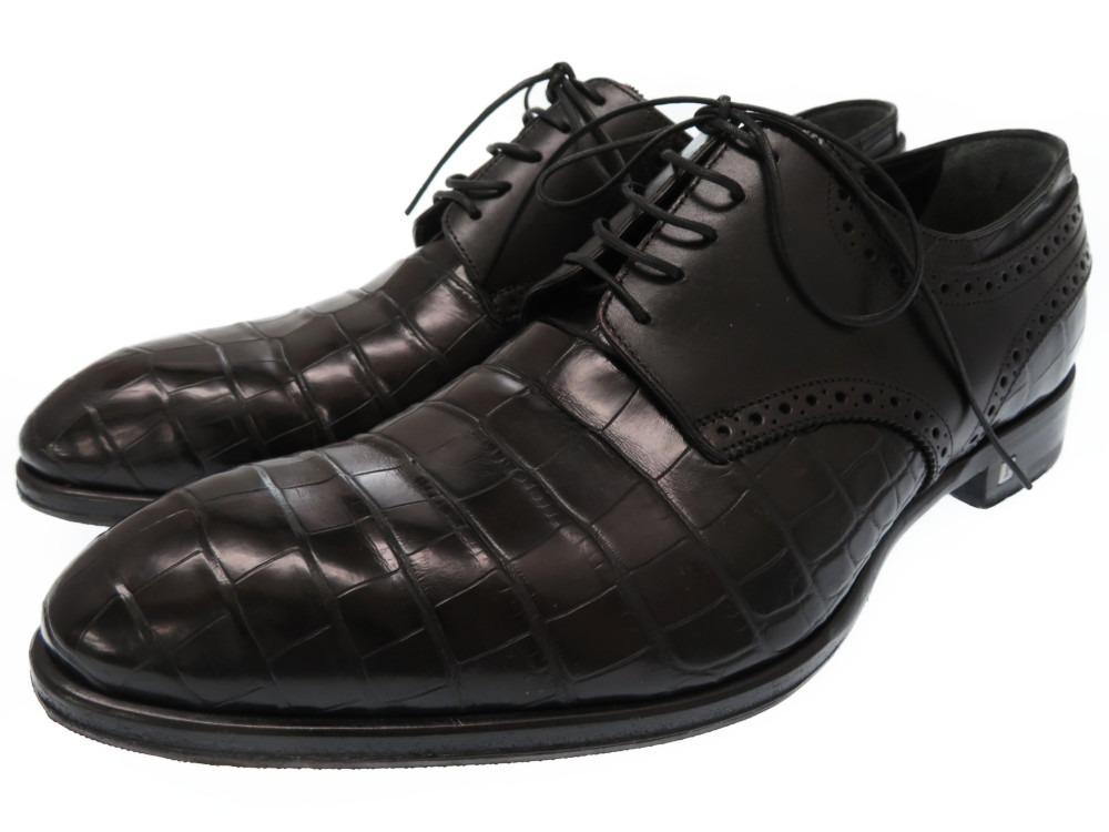 美品 ルイヴィトン アリゲーター クロコ レザー ビジネスシューズ ドレスシューズ 革靴 黒 メンズ6 1/2【中古】LOUIS VUITTONクロコダイル