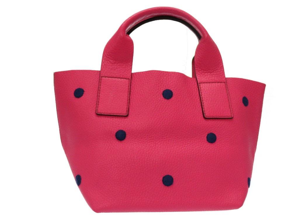 710e95871385 ピンク ハンドバッグ レザー ドット刺繍 ヌール・ドナテラルッキ 美品 ...
