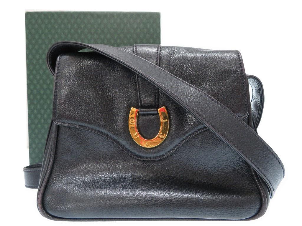 【10%OFF】オールドグッチ レザー ショルダー バッグ ウィンテージ 鞄 黒 0275【中古】Gucci