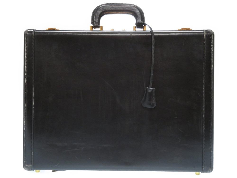 エルメス ヴィンテージ アタッシュメース トランク ビジネスバッグ ボックスカーフ ブラック 黒 〇P刻印 1986年製 0034【中古】HERMES