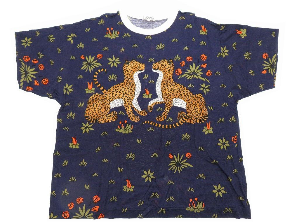 美品 エルメス 豹 総柄 半袖 Tシャツ レオパード メンズ ヴィンテージ ネイビー 0156【中古】HERMES