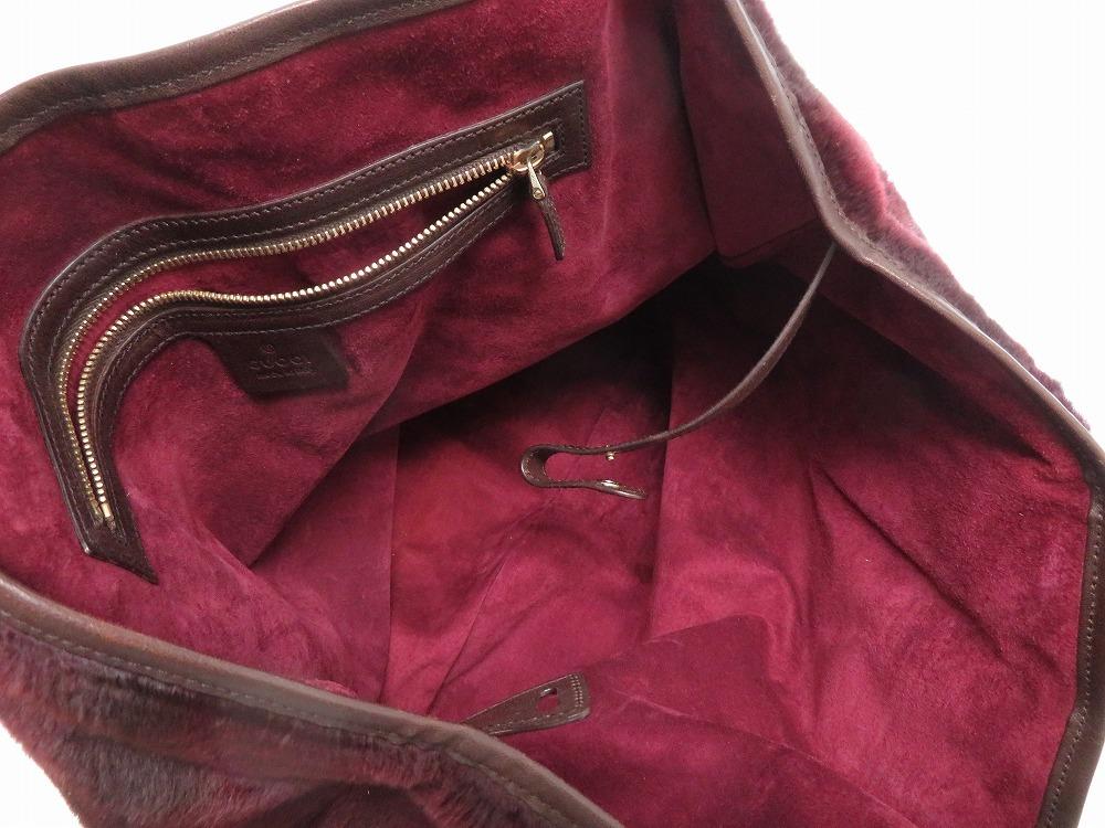 d843ae227d8 0498 beautiful article Gucci hose bit Lapin leather Bordeaux tote bag bag  lady GUCCI