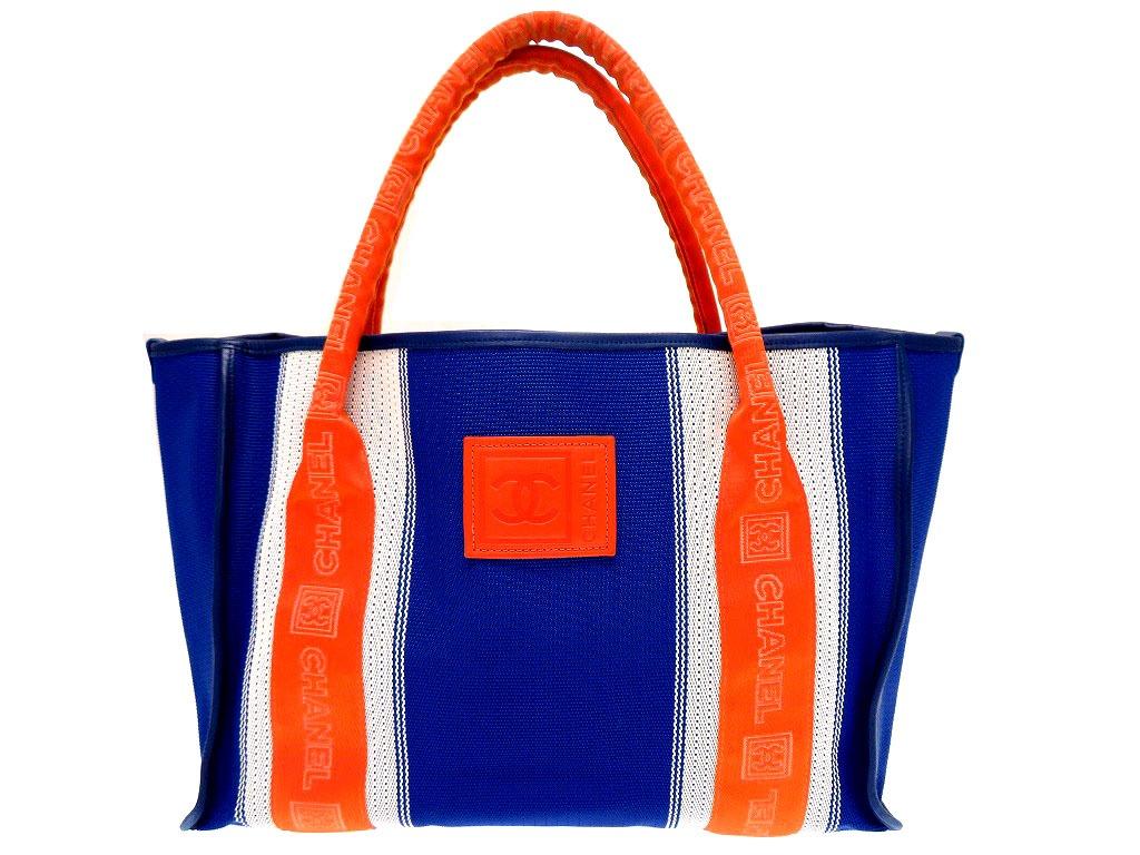 美品 シャネルスポーツ ハンド バッグ ココマーク ポーチ付き ブルー 鞄 0421【中古】Chanel