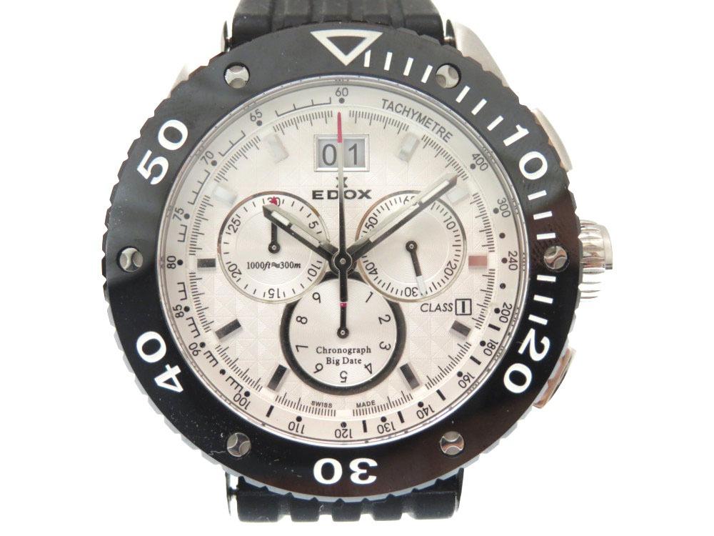 美品 エドックス クロノオフショア1 10017-3 ビッグデイト クオーツ式 メンズ 腕時計 白文字盤 0477【中古】EDOX
