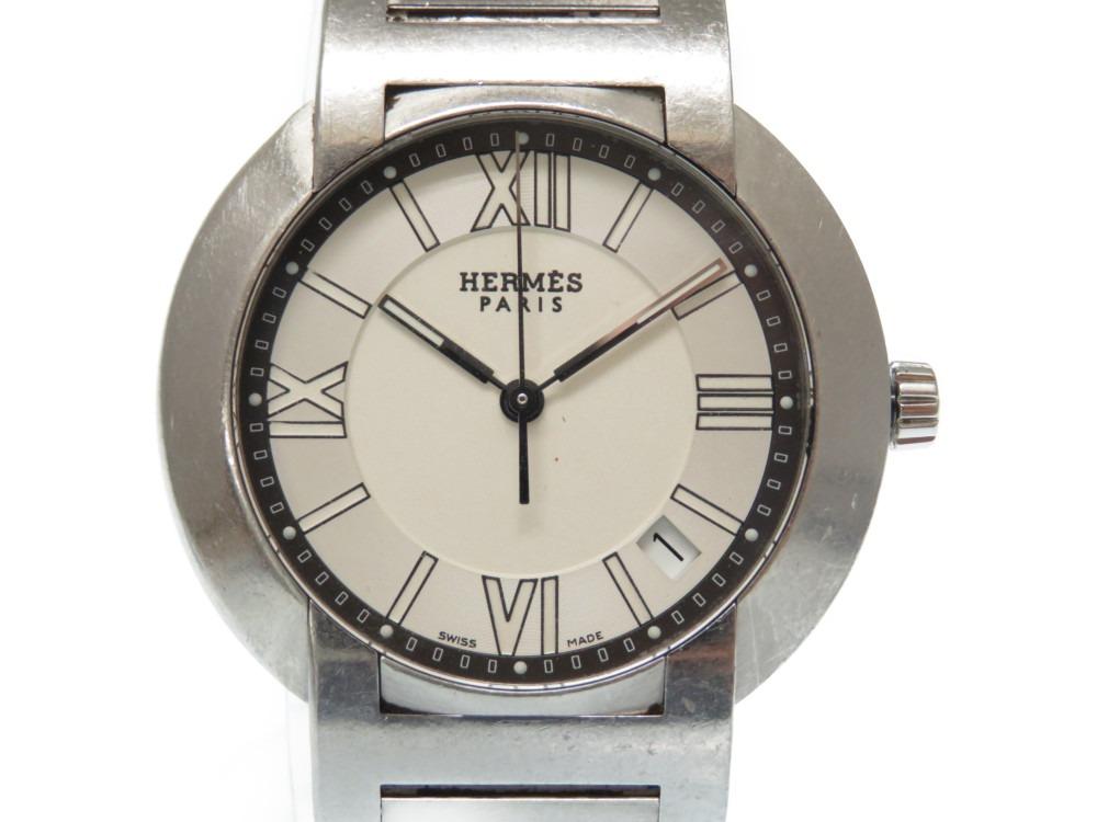 エルメス ノマード NO1.710 オートクオーツ メンズ 腕時計 白文字盤 0482【中古】HERMES