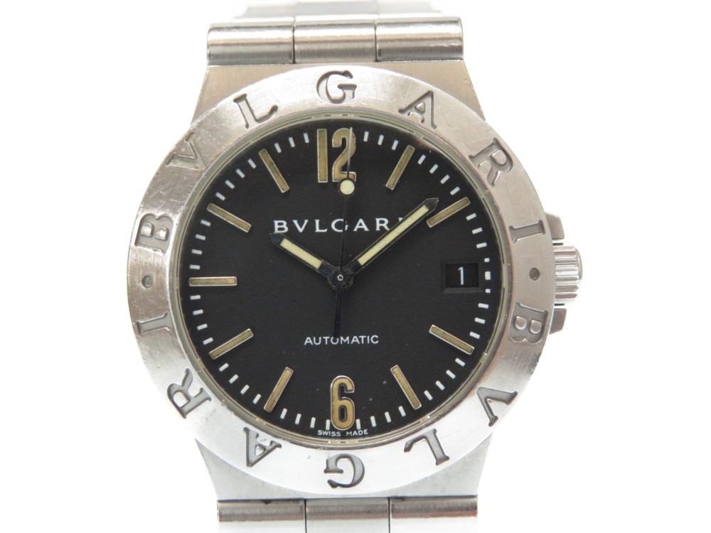 ブルガリ ディアゴノスポーツ LCV35S 自動巻き メンズ 腕時計 黒文字盤 オートマティック 0488【中古】BVLGARI