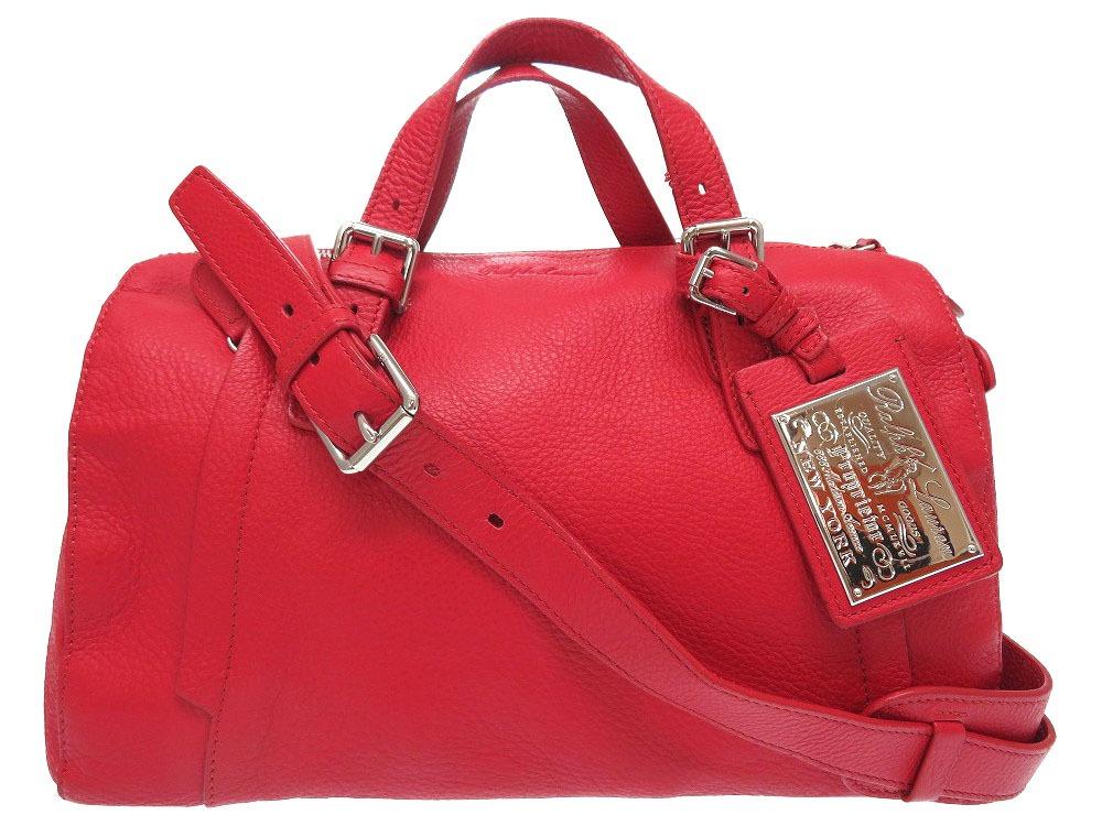 Ralph Lauren Red Leather 2way Handbag Bag 0274