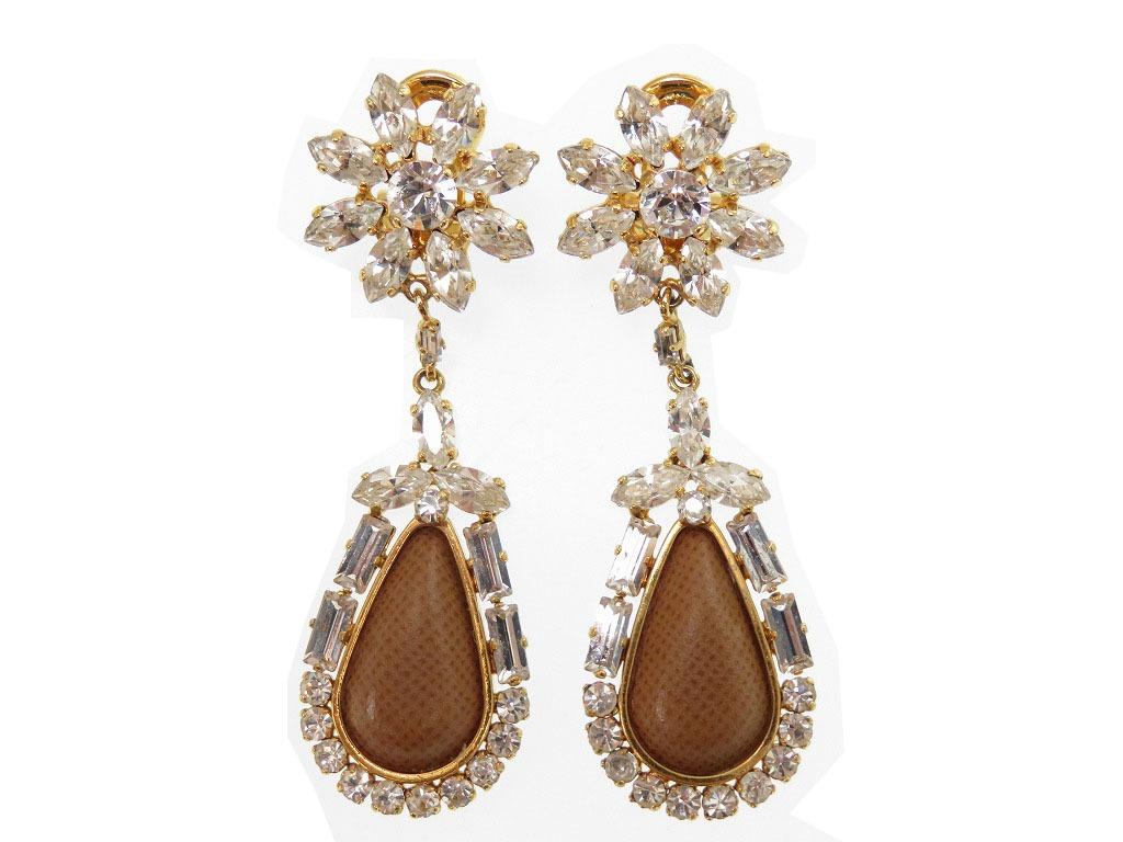 Prada Stone Earrings Gp Leather Gold 0567prada Lady S