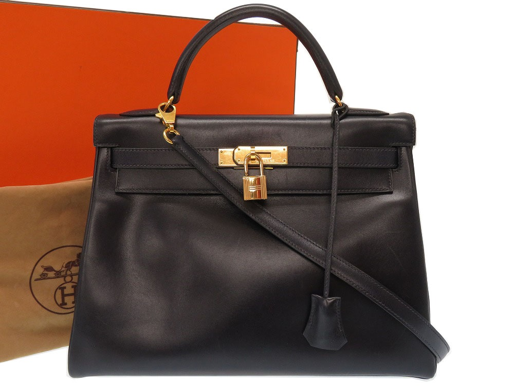 5265f629bf66 ... where to buy hermes kelly 32 boxcalf navy c carved seal gold metal  fittings handbag bag