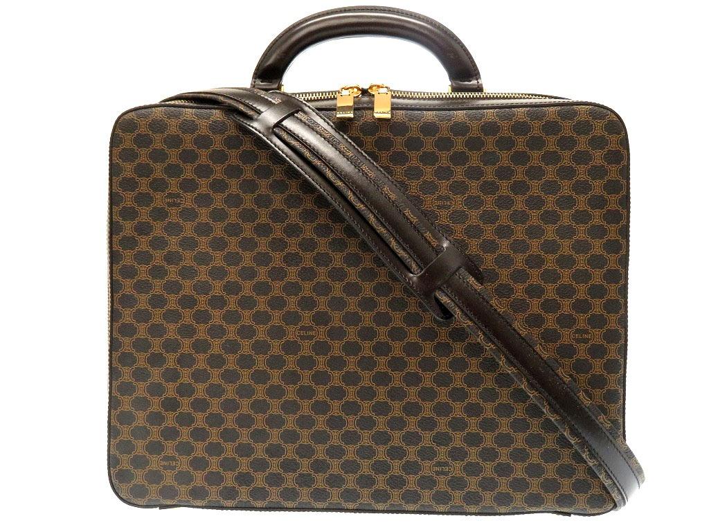 未使用 セリーヌ マカダム ショルダー ビジネス バッグ 書類鞄 ブラック 黒 0084【中古】CELINE