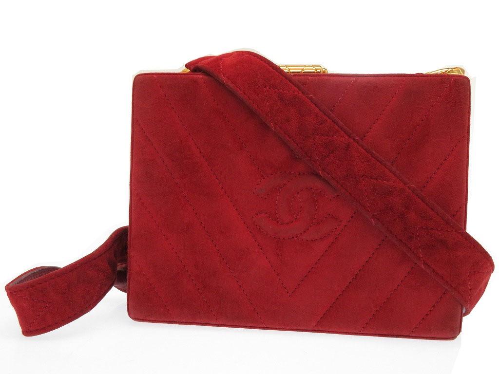 シャネル スエード バニティ ショルダー バッグ ヴィンテージ ココマーク 赤 鞄 0082【中古】CHANEL