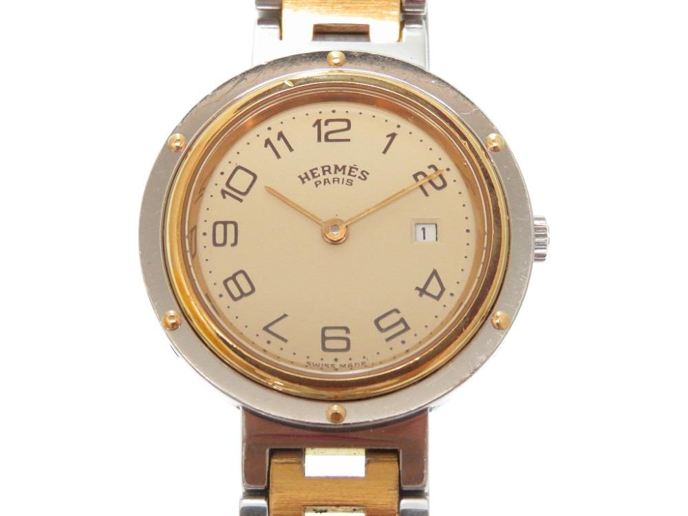 エルメス クリッパー クオーツ 腕時計 ゴールド/シルバー 男女兼用 0033【中古】HERMES メンズ ボーイズ