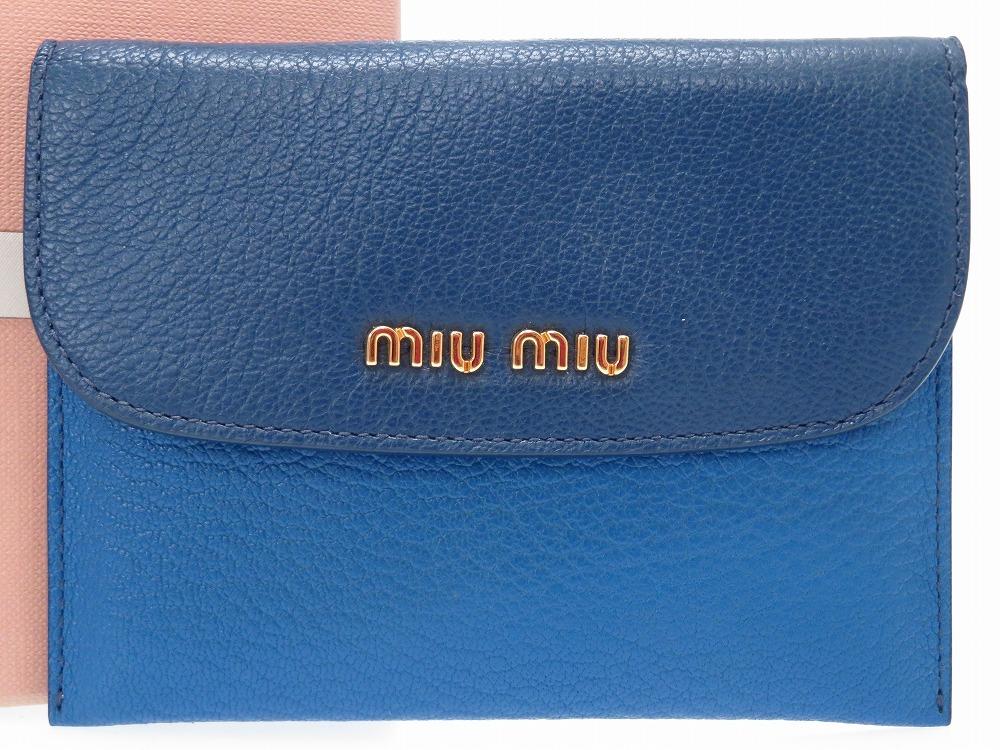 新品同様 ミュウミュウ バイカラー ネイビー ブルー レザー カードケース 5M1372 ケース 0132 【中古】 MIUMIU レディース