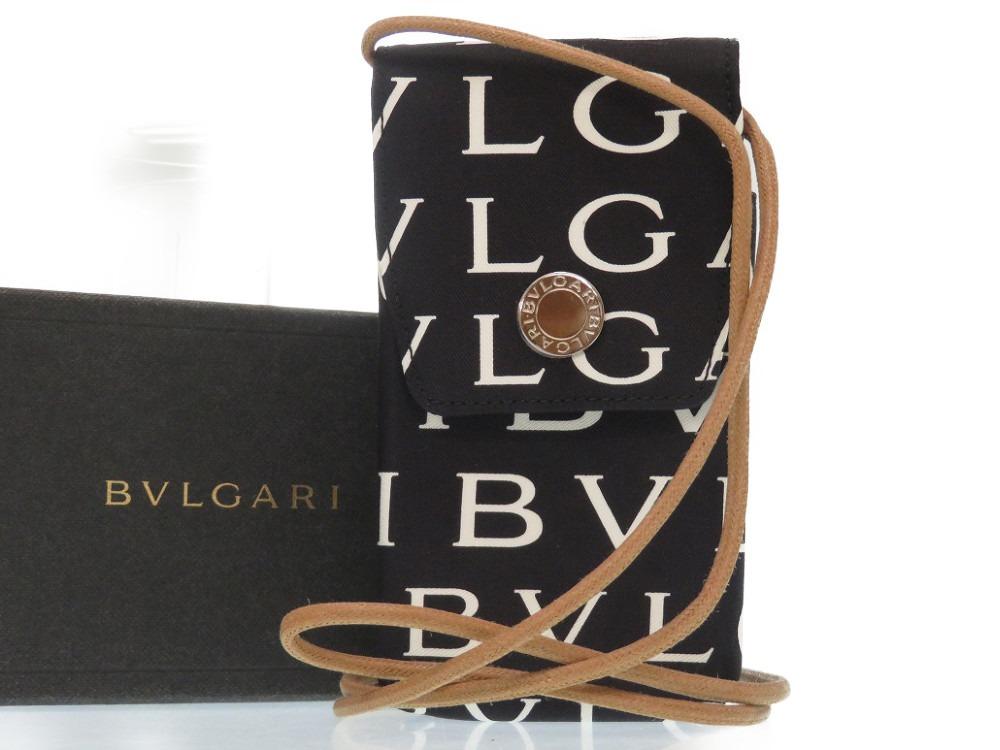 未使用 ブルガリ ロゴマニア ショルダーポシェット アイコス 電子タバコケース キャンバス ブラック 黒 0200【中古】BVLGARI