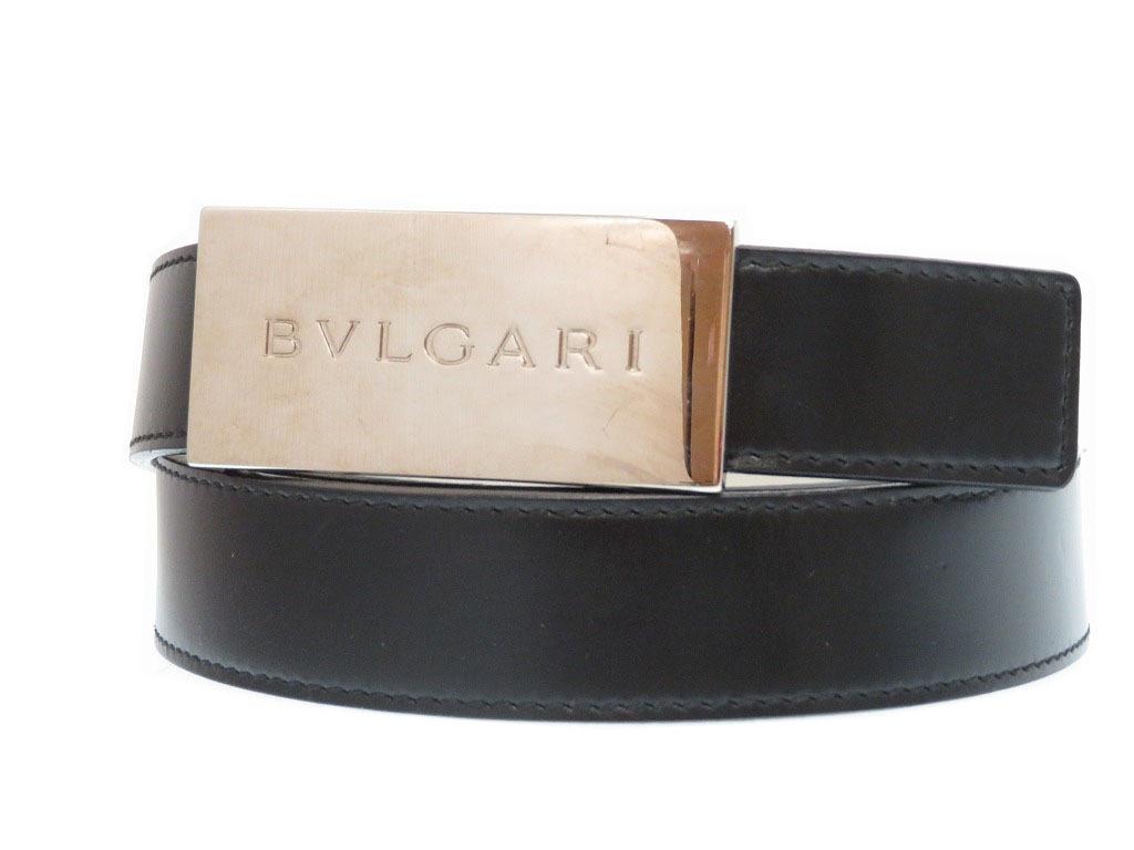 ブルガリ レザー ベルト バックル メンズ 80/32 ブラック 黒 0329【中古】BVLGARI