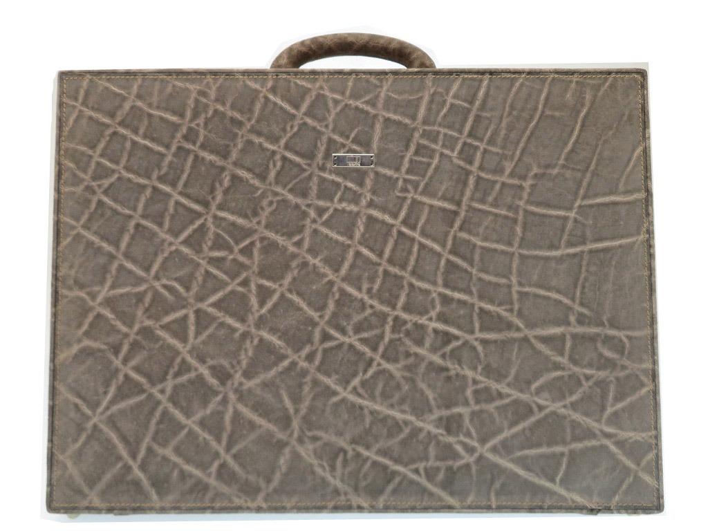 美品 ヴァレクストラ エレファント アタッシュケース ビジネス バッグ 書類鞄 グレー 0112【中古】Valextra メンズ