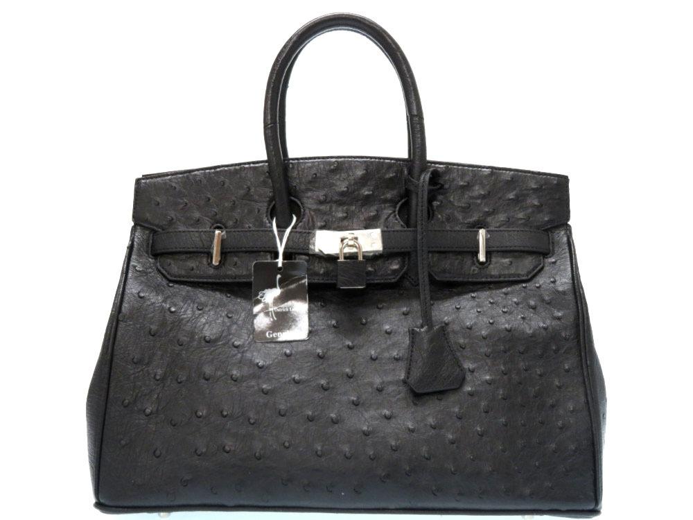 未使用 オーストリッチ ハンドバッグ 黒 ブラック シルバー金具 0040【中古】Ostrich Leather
