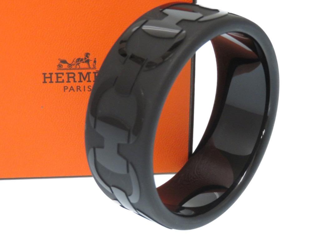 美品 エルメス シェーヌダンクル バングル サイズS ブラック 黒 アクセサリー 0246【中古】HERMES