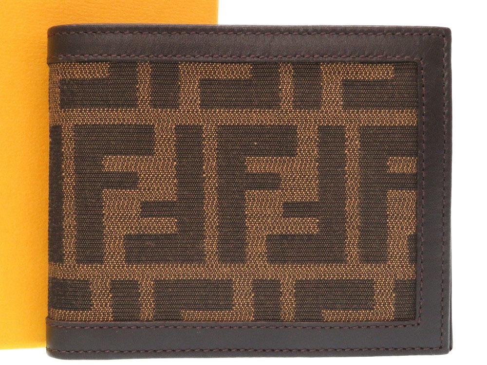 未使用 フェンディ ズッカ 柄 キャンバス レザー ブラウン 二つ折り財布 財布 0254 【中古】 FENDI