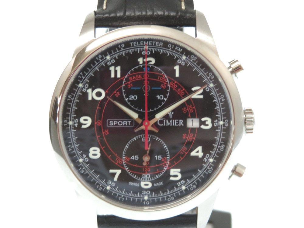 未使用 シミエール レトロクロノスポーツ クロノグラフ 2418-SS021 メンズ クオーツ 腕時計 黒文字盤 0594【中古】CIMIER