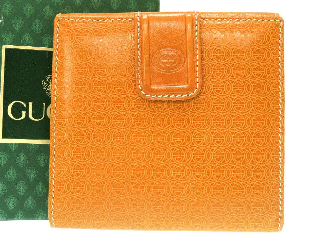 美品 グッチ Wホック財布 オールドグッチ レザー Wホック 二つ折り財布 ブラウン 0039【中古】GUCCI