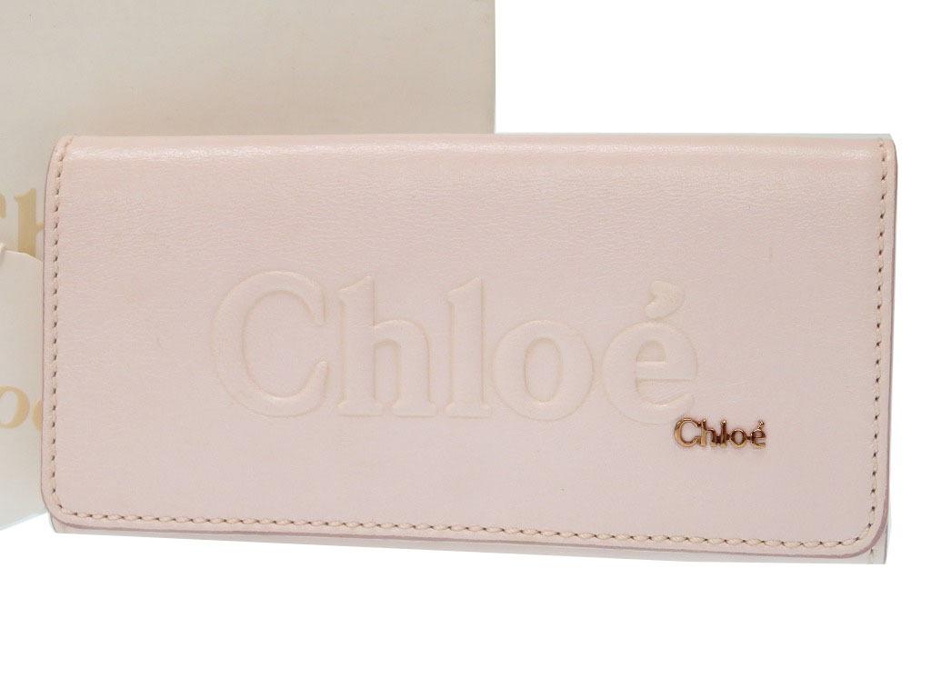 美品 クロエ シャドー シャドウ レザー 2つ折り長財布 ピンク 3P0321-7A733 レディース 0051【中古】Chloe