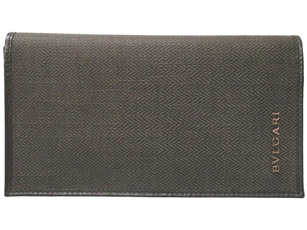 新品同様 ブルガリ ウェークエンド コーティングキャンバス ブラック 長財布 財布 黒 メンズ 0272 【中古】 BVLGARI