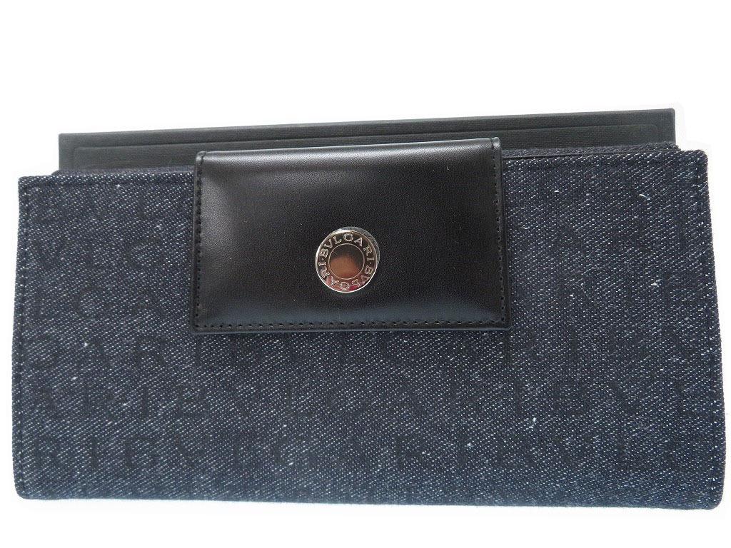 未使用 ブルガリ ロゴマニア 長財布 キャンバス レザー ブラック 0428【中古】BVLGARI メンズ